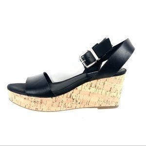 BCBGeneration Black Leather Platform Wedge Sandal